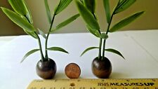 Dollhouse miniatures plants in a wooden planter lot of two