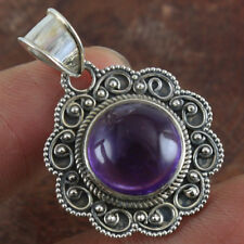 SOLID 925 STERLING SILVER DESIGNER NATURAL AMETHYST HANDMADE PENDANT JEWELRY 5g