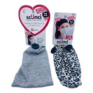 2X Scunci headband button hairband hair accessory worn comfortably Gray Leopard