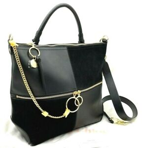 $525 See by Chloé Emy Large Color-Block Large Leather & Suede Shoulder Bag