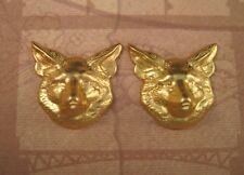 Raw Brass Wolf Head Stampings (2) - RAT92 Jewelry Finding