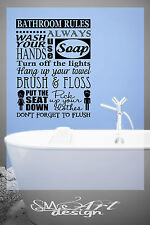 BATHROOM RULES WASH YOUR HANDS lettering VINYL DECAL WALL STICKER QUOTE DECOR