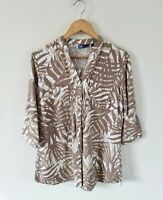ISLE TROPICAL LEAF PRINT BUTTON DOWN LINEN BLEND SHIRT SIZE 12