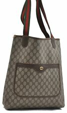 Authentic GUCCI Tote Bag GG PVC Leather Brown A5182