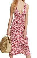 Free People Womens Sheath Dress White Red Size 8 V-Neck Printed $138- 519