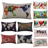 Rectangular Creative World Map Bird Cushion Cover Waist Pillow Case Cotton Linen