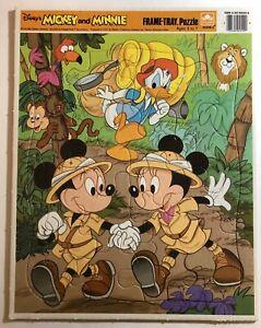 Disney's Safari Mickey And Minnie Frame Tray Puzzle Golden Donald Lion Monkey