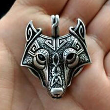 Fashion Men Leather Chain Vintage Retro Silver Wolf Animal Head Pendant Necklace