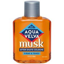 New Aqua Velva After Shave Cologne Musk Scent that Firms and Tones Skin 3.5 Oz.