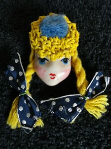 1940'S GIRL FACE BROOCH CROCHET & POM PIGTAILS & BOWS ADORABLE