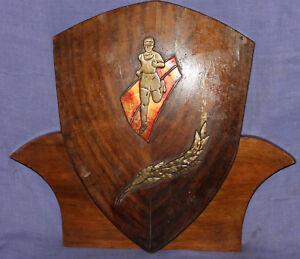 Vintage wall decor wood/bronze sport prize reward plaque