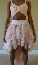 Marcea Dance Costume, Blush Pink High-Low Skirt & Top (Adult Small)
