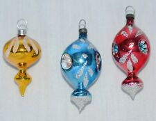 New Listing3 Glass Christmas Ornaments Feather Tree - 2 Triple Indent Ornaments