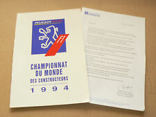 Gros Catalogue Peugeot F1Championnat  Monde 1994 prospectus brochure sport car