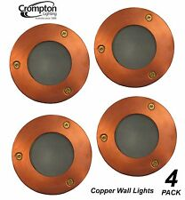4 x Round Copper Recessed Exterior Wall Lights 12V 35W MR16 Low Voltage Outdoor