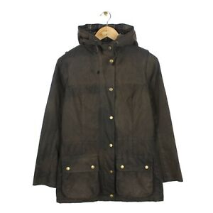 Barbour Waxed Durham Womens Olive Full Zip Hooded Country Jacket - Size UK 8