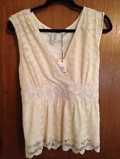 Studio M Women Lined Front Crossover Sleeveless Lace Top Ivory LG~ NWT MSRP $68.
