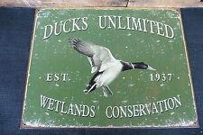 DUCKS UNLIMITED Est 1937 Wetlands Conservation Hunting Cabin Mancave METAL SIGN