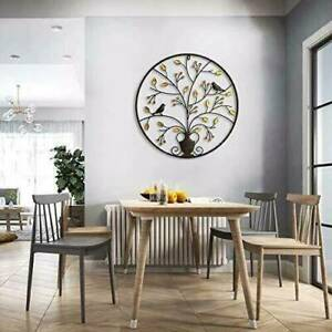Round Metal Wall Hanging Art Sculpture Black Tree Of Life Garden Decor For Home