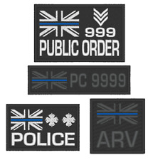 E0139  EMBROIDERED  THIN BLUE LINE POLICE PATCH WITH CUSTOM OPTIONS