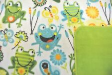 Frogs Butterflies Flower Baby Toddler Blanket Double Sided Can Personalize 28x44