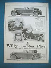 PUBLICITE DE PRESSE WILLY VAN DEN PLAS TORPEDO CABRIOLET AUTOMOBILE AD 1926