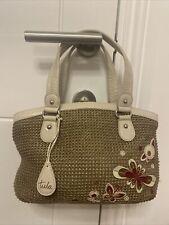 BNWOT Beautiful Tula Weaved Bag With Ivory Leather Trims Tote Bag Handbag Beige