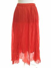 Coldwater Creek Long Maxi Skirt Coral Silk Blend XS Petite 4 Boho Cruise NEW
