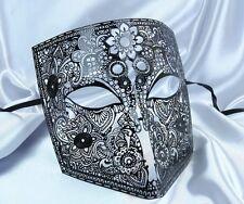 Hombre NEGRO BAUTA MÁSCARA VENECIANA Mascarada Metal Filigrana Fancy Dress Casanova