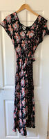 TOPSHOP BLACK FLORAL PATCHWORK FRILL MIDI DRESS UK 10