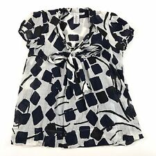 Diane Von Furstenberg DVF Women's Blouse Silk Tie Neck White Blue Black Square 4