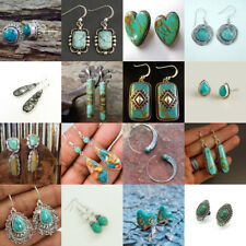 Antique Womens 925 Silver Turquoise Wedding Engagement Drop Dangle Earrings Gift