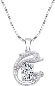 Simulated Gemstone Dolphin Pendant Prong Set W/ Rope In White Gold Over Silver