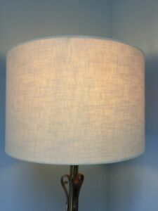 """PRELOVED HARD PLAIN LINEN COVERED DRUM FLOOR LAMP SHADE 12"""" widest x 8"""" tall"""