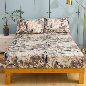 Tache Microfiber Abstract Wispy Leaf Taupe Grey Print Pattern Fitted Sheet only