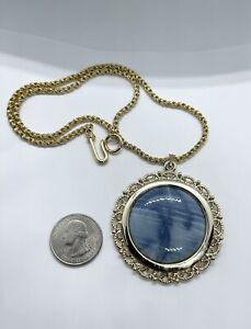 "Vintage Genuine Round 64 Carat Blue Opal Stone Pendant Necklace 18"""