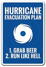 Hurricane Evacuation Plan Novelty Sign