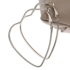 Pair of silver heart shape hoop dangle fashion earrings 55mm UK seller