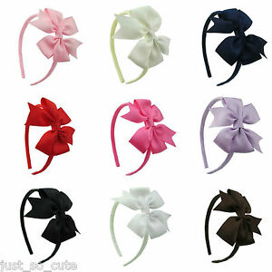 Girls Kids Children  Alice Style Bands Headbands 3 inch pin wheel bow school bow