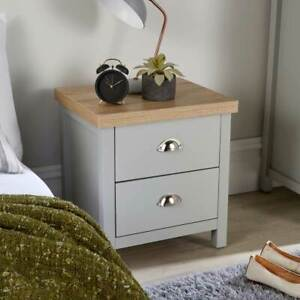 Grey Oak Bedside Cabinet 2 Drawer Lamp Side Table Night Stand Avon Two Tone