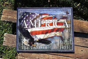America - The Land of the Free Tin Metal Sign - Bald Eagle - Flag - USA - Retro