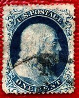 US Stamp SC #21 1c Blue type III Franklin CV:$1600