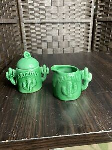 Vintage Arizona Sugar Bowl and Creamer Cactus