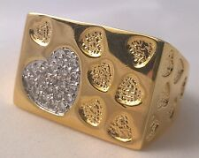 G-Filled Mens 18k yellow gold simulated diamond ring love hearts cluster romance