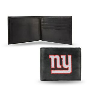 New York Giants NFL Embroidered Leather Billfold Bi-fold Wallet ~ New