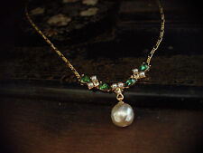 Vintage Baroque Pearl Drop with Turmaline Green Crystal & Seed Pearls Necklace