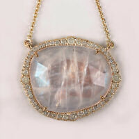 Solid 14K Yellow Gold Moonstone Pendant Necklace Real Pave Diamond Fine Jewelry