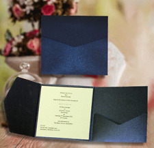 SQUARE POCKETFOLD NAVY PEARLISED INVITATIONS 'GLORIANA'+ CARD/ INSERT/ ENVELOPE