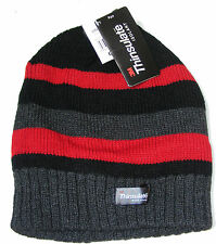 Knitted Striped Thinsulate Fleece Lined Beanie Hat Mens Womens Hats Black & Red Stripe