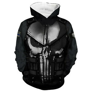 3D Punisher Print Hip Pop Sports Hoodie Sweatshirt Sweater Pullover Jacket Coat